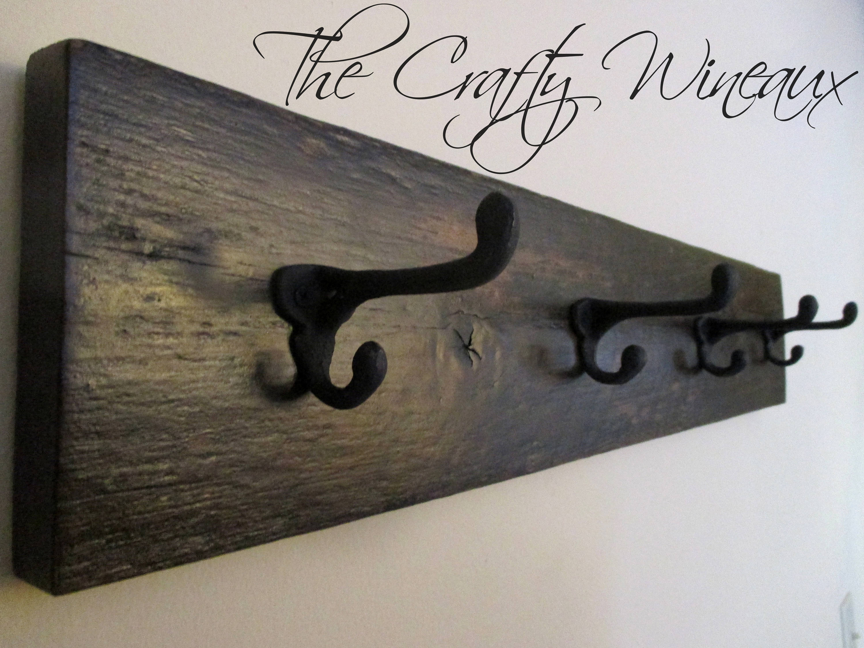 Four Hook Reclaimed Barn Wood Coat Hanger With Wrought Iron Hooks