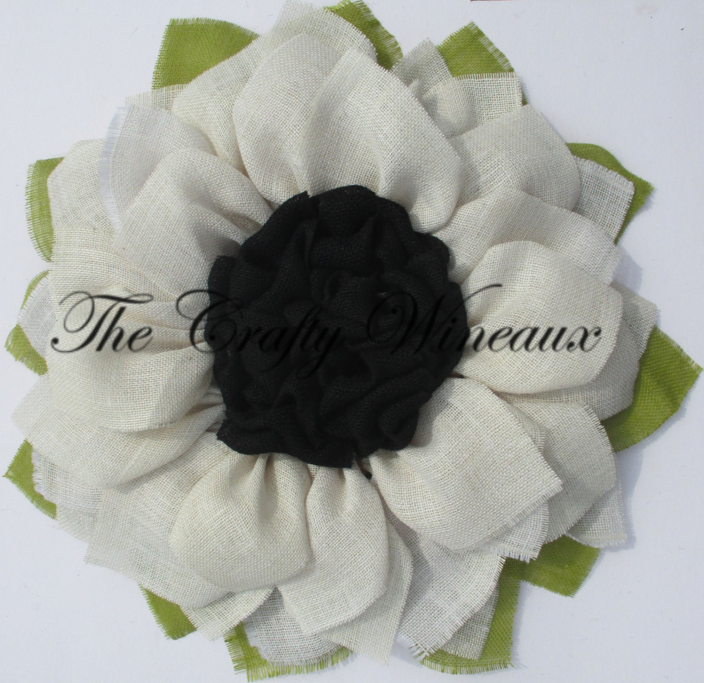 White Flower With Black Center Burlap Sunflower Wreath - The Crafty ...