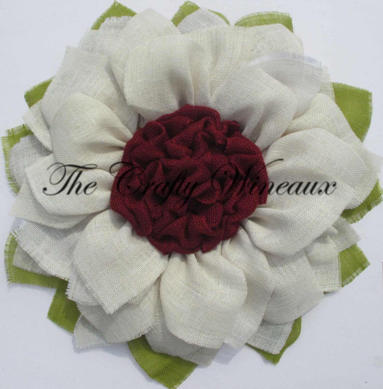 White flower with maroonwine center burlap sunflower wreath the white flower with maroonwine center burlap sunflower wreath izmirmasajfo