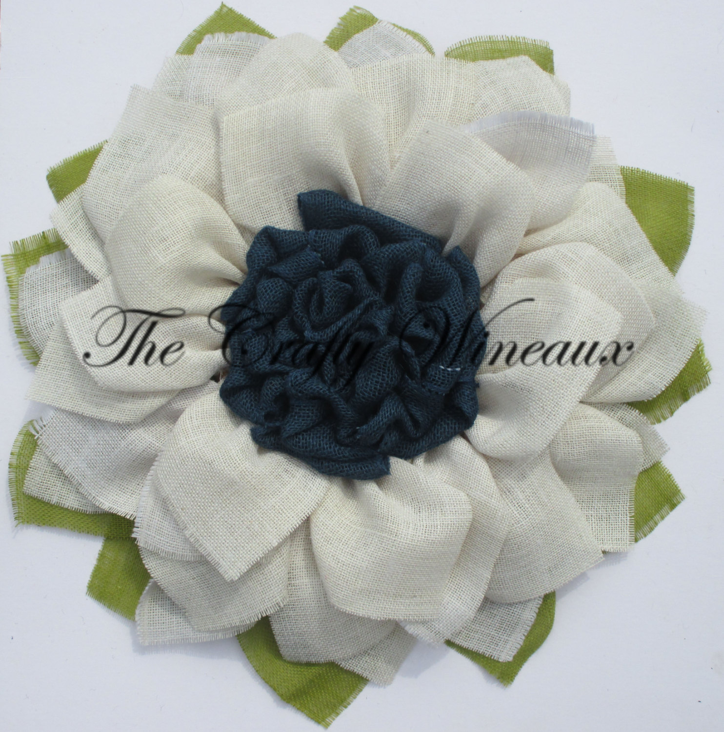White Flower With Navy Blue Center Burlap Sunflower Wreath The