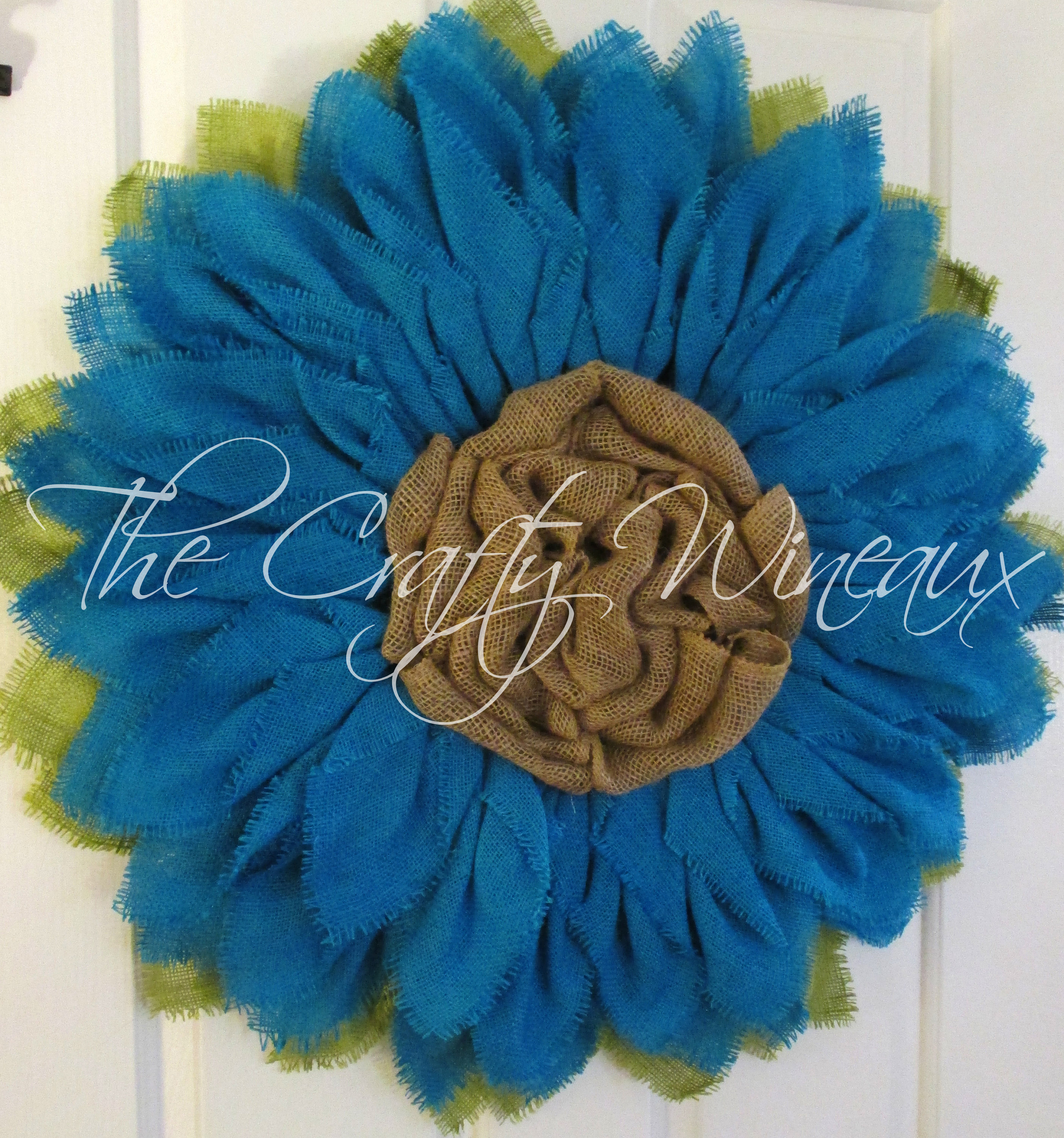 Extra Thick Turquoise Blue Sunflower Wreath Sunflower