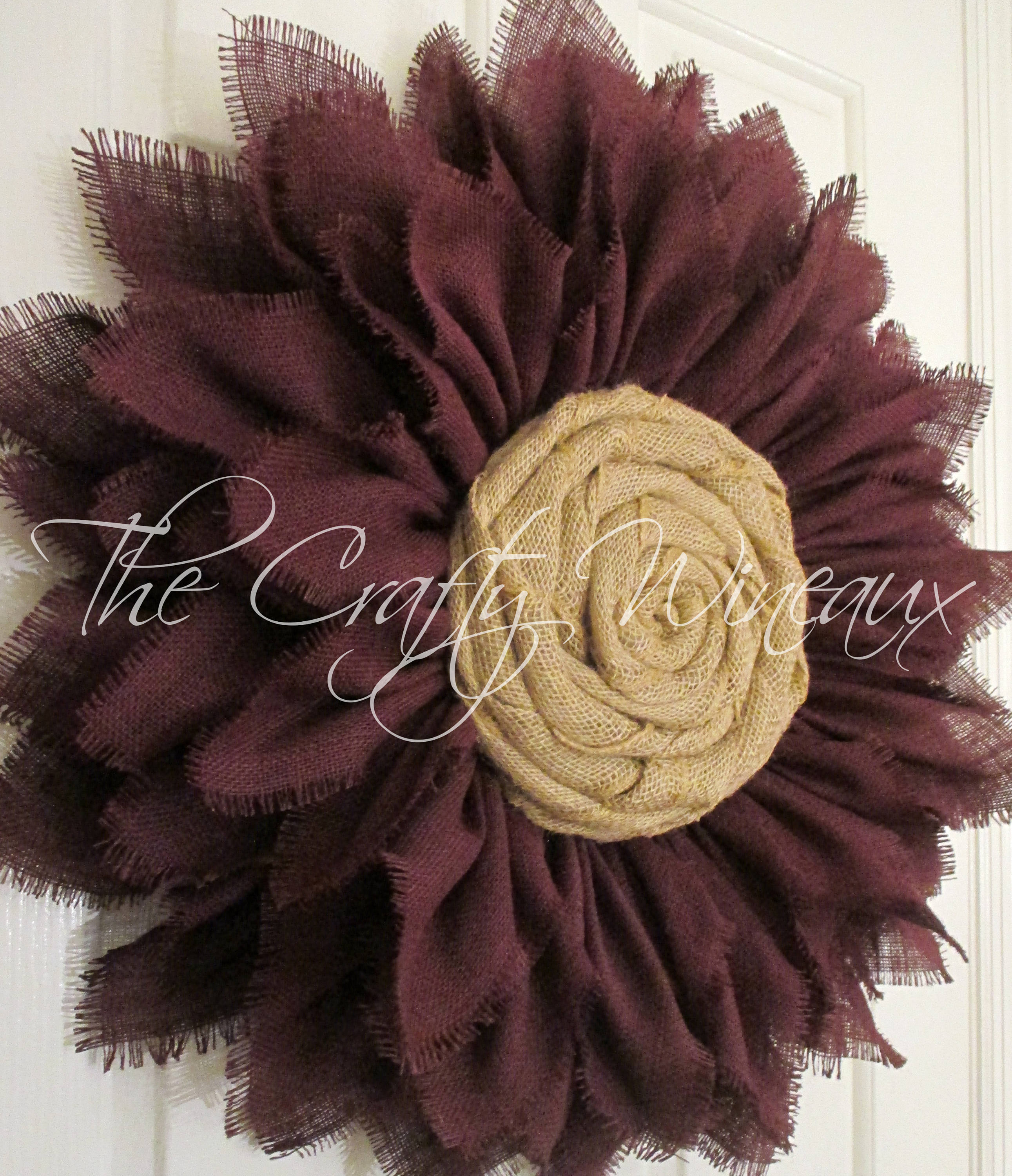 Extra Thick Burgundy Wine Burlap Sunflower Wreath Fall