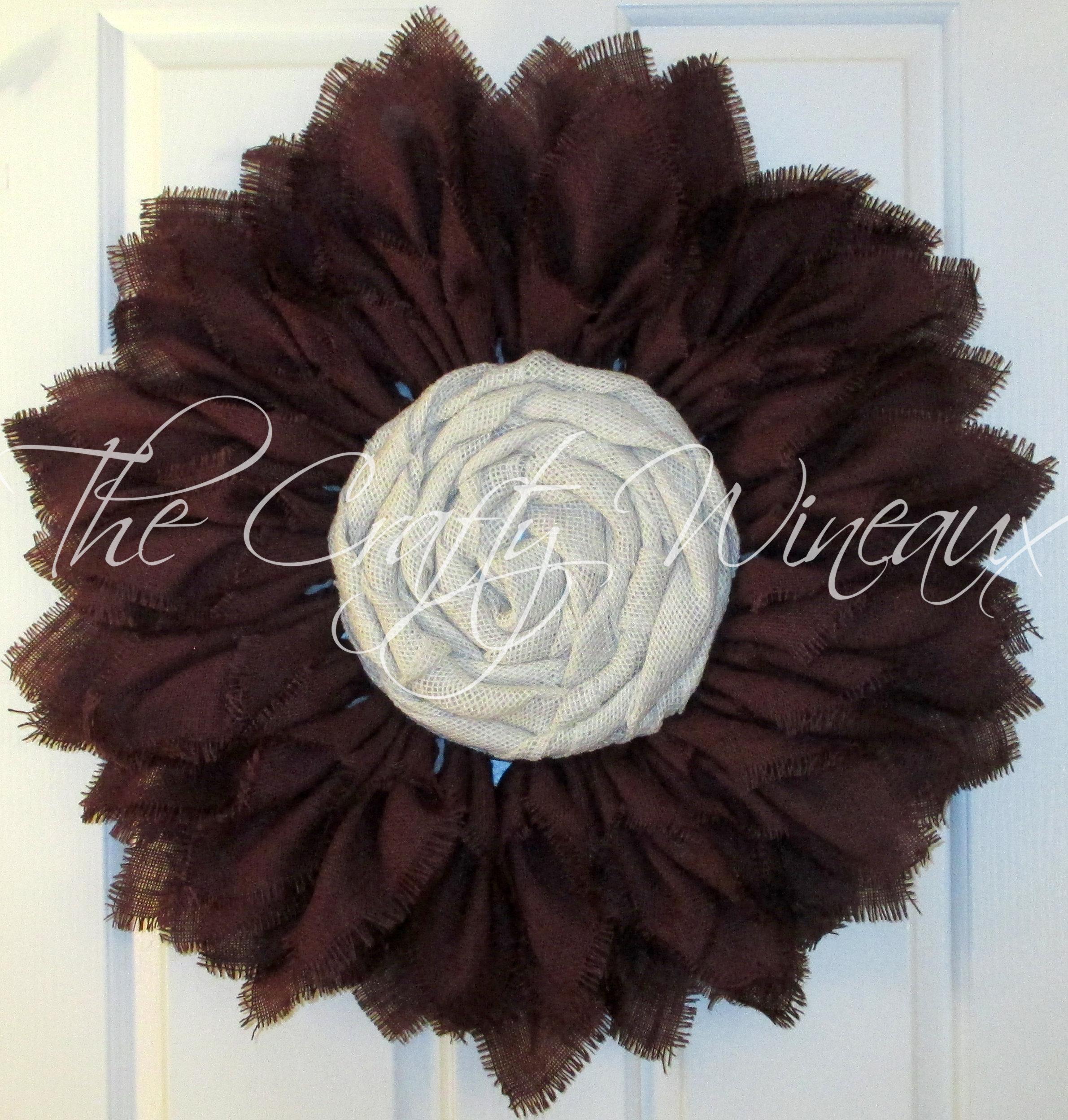 Extra Thick Burgundy Wine Burlap Sunflower Wreath Fall
