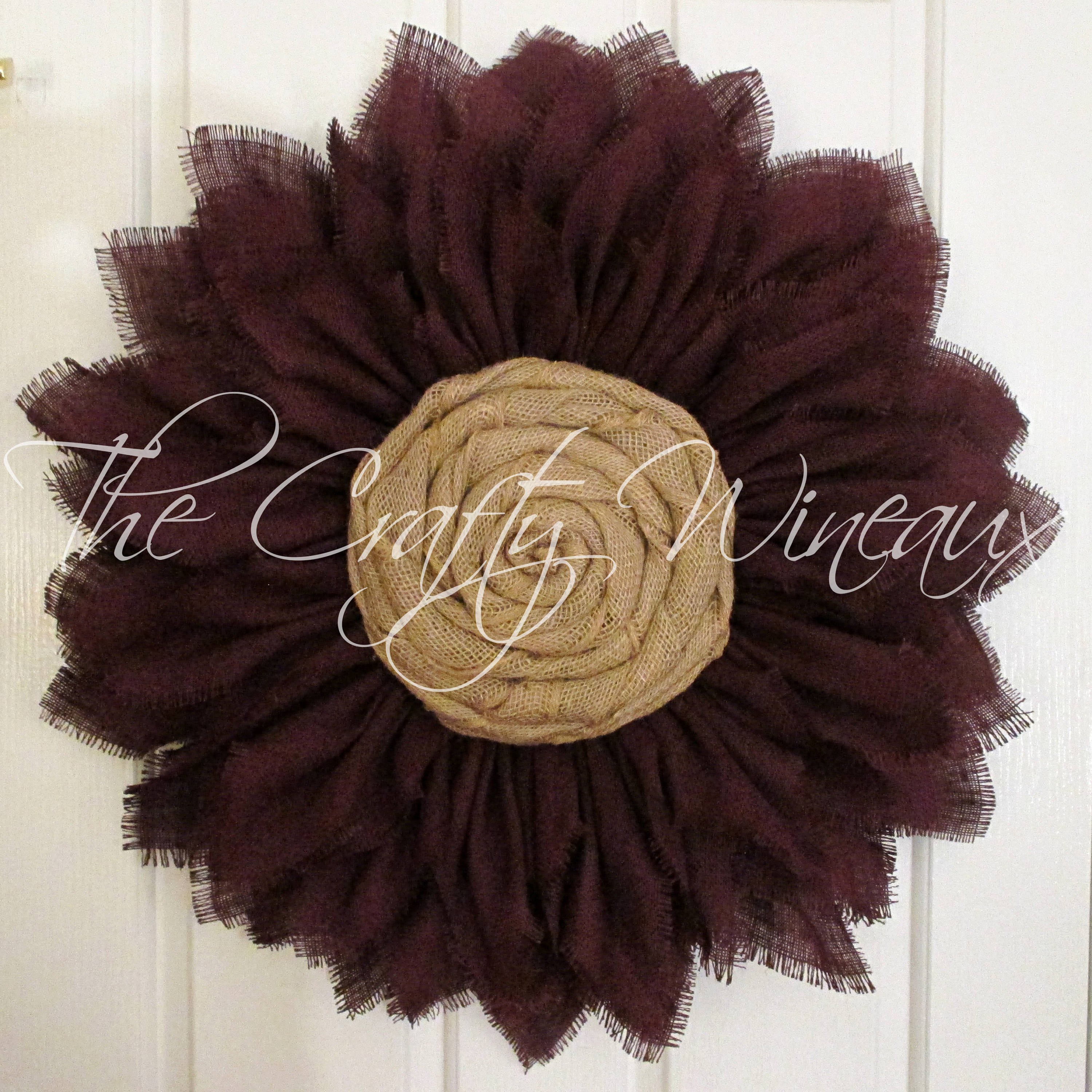 Free Shipping Extra Thick Burgundy Wine Burlap Sunflower