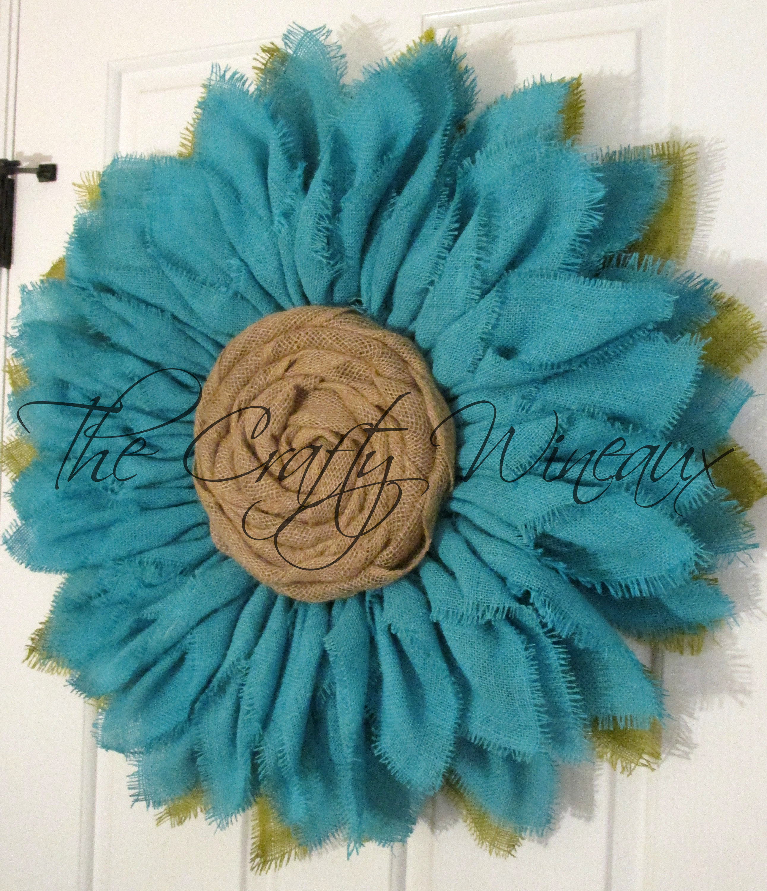 Free Shipping Extra Thick Jade Green Burlap Sunflower