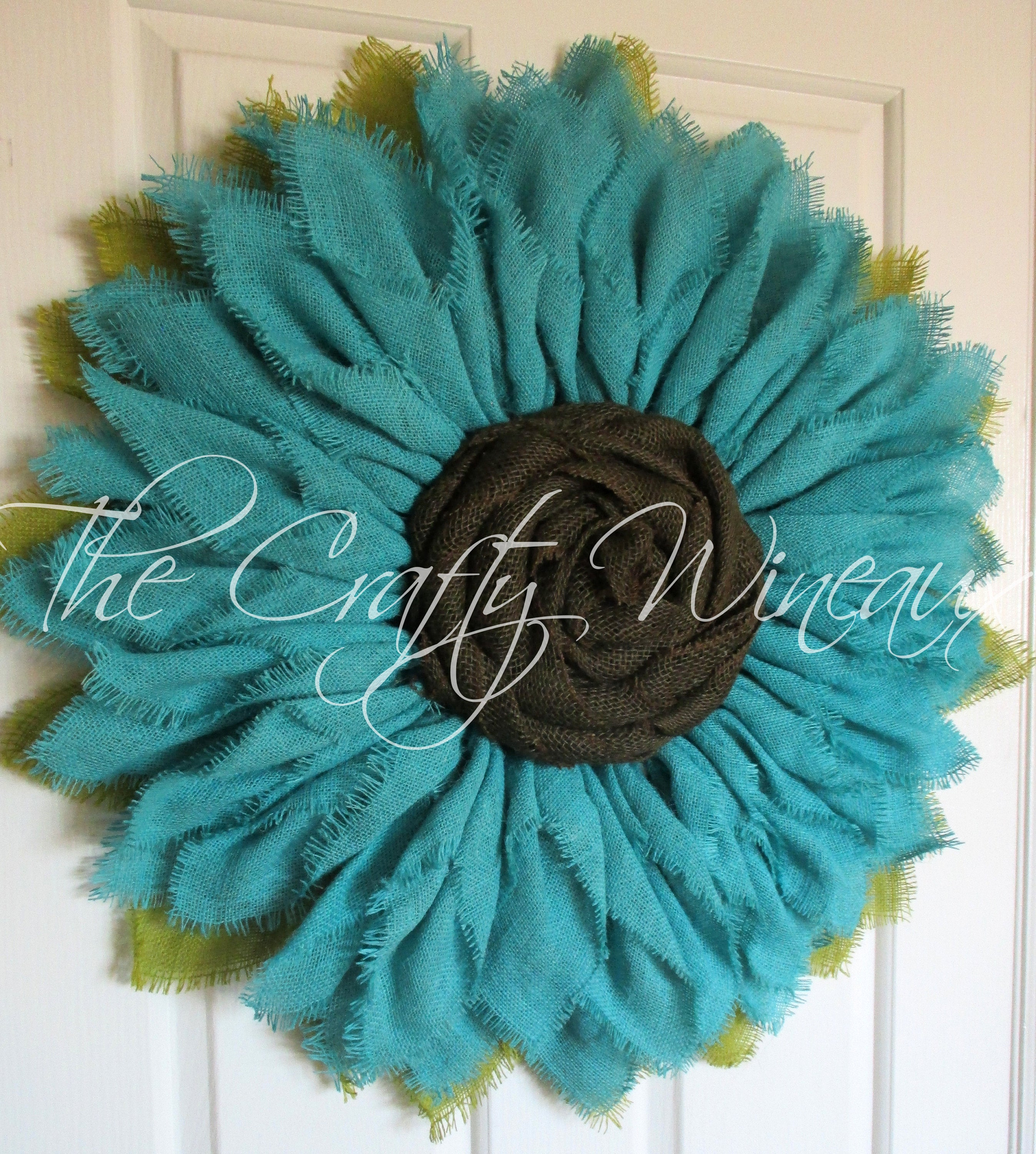 Free Shipping Extra Thick Rich Jade Blue Burlap Sunflower