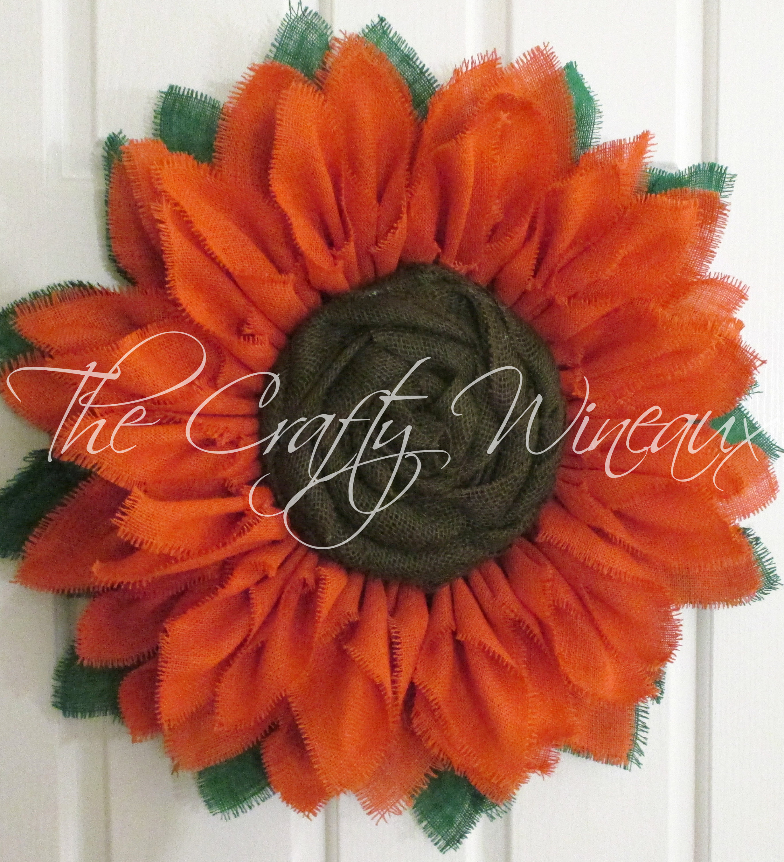 Free Shipping Extra Thick Rich Tangerine Burlap Sunflower