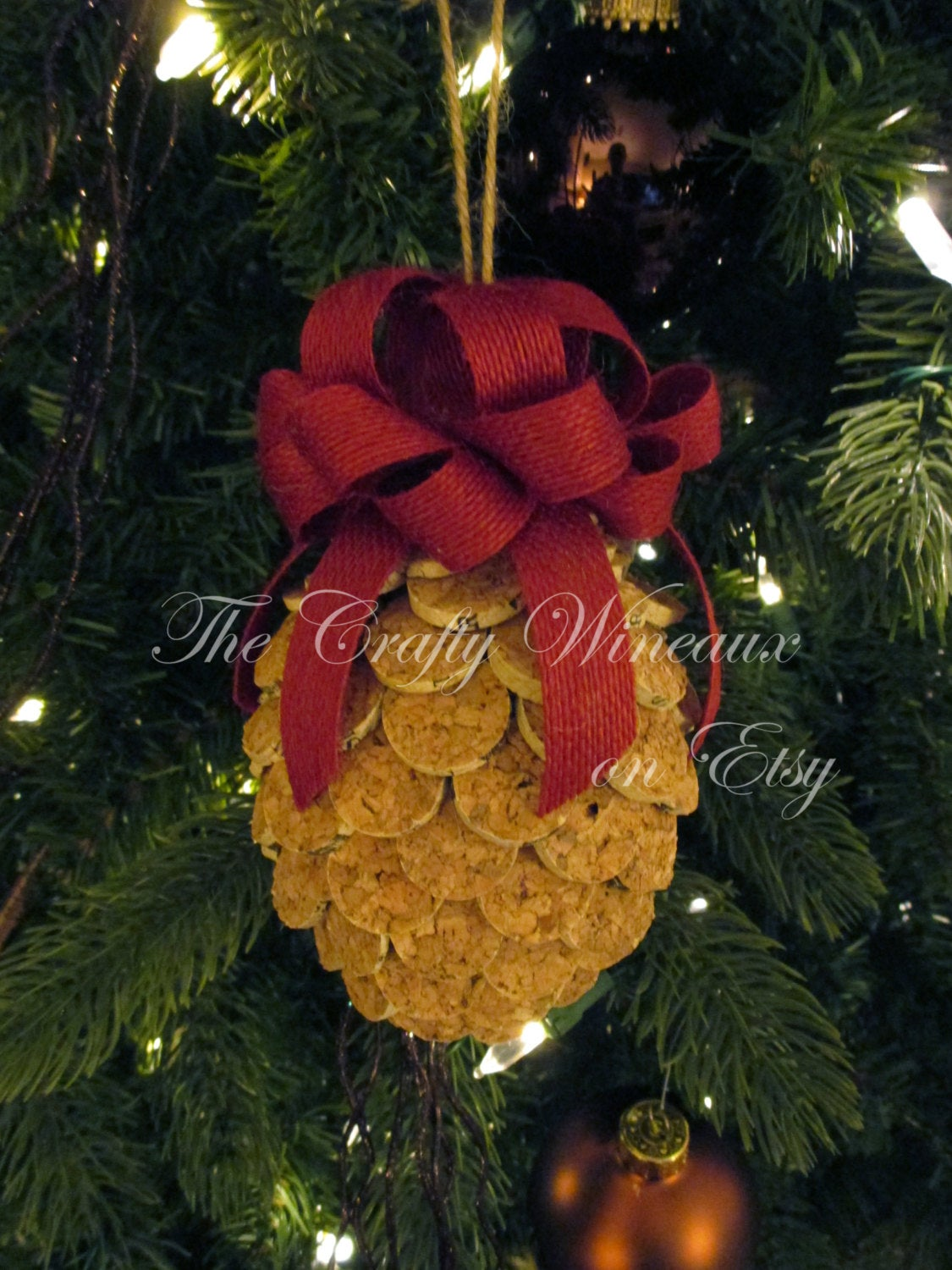 Poinsettia Red Bow Wine Cork Pine Cone Christmas Ornament Pineapple Ornaments 100 Recycled Wine Corks Twine Burlap Ribbon The Crafty Wineaux
