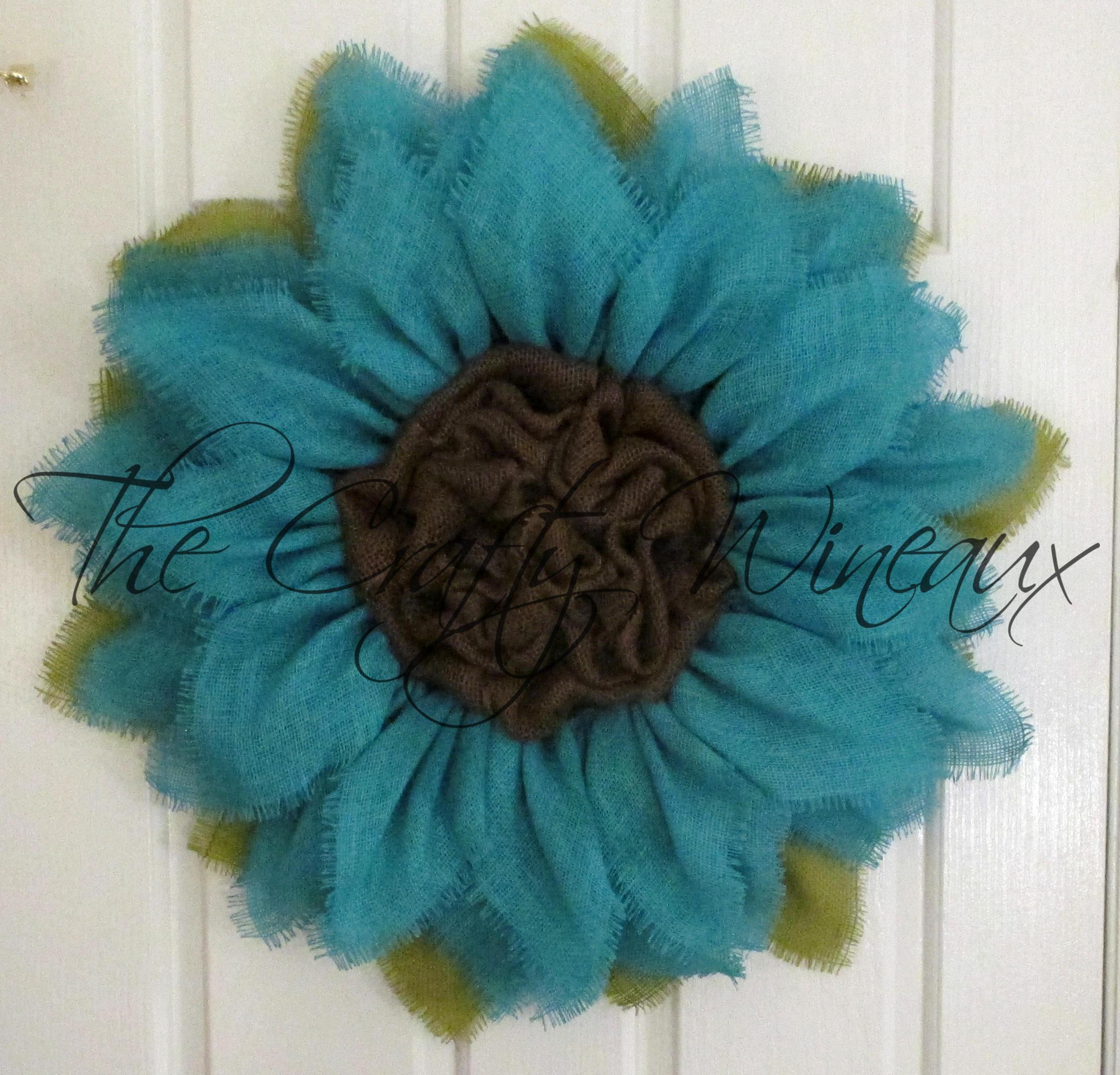 Spring Flower Wreath Sunflower Door Hanger Small Jade Blue Burlap Sunflower Wreath Summer Sunflower Burlap Wreath Free Shipping